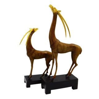 The Kindu Collection Mid-Century Wooden Gazelles - A Pair