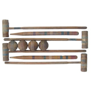Old School Croquet Set for Four For Sale
