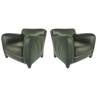 Donghia Leather Club Chairs From the Main Street Collection in Forest Green For Sale