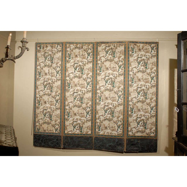 This antique French four-panel paper screen on canvas from the 19th century has been made in the Zuber style. This style...