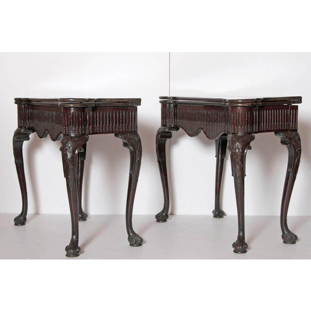 Pair of Irish Chippendale Carved Mahogany Concertina Card Tables For Sale - Image 4 of 12