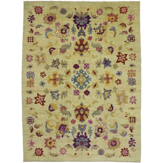 Contemporary Turkish Oushak Rug - 10′6″ × 14′2″ For Sale