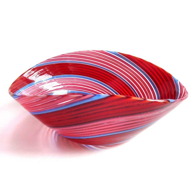 Beautiful Murano hand blown red, pink and blue ribbons Italian art glass dish. Documented to designer Dino Martens for...