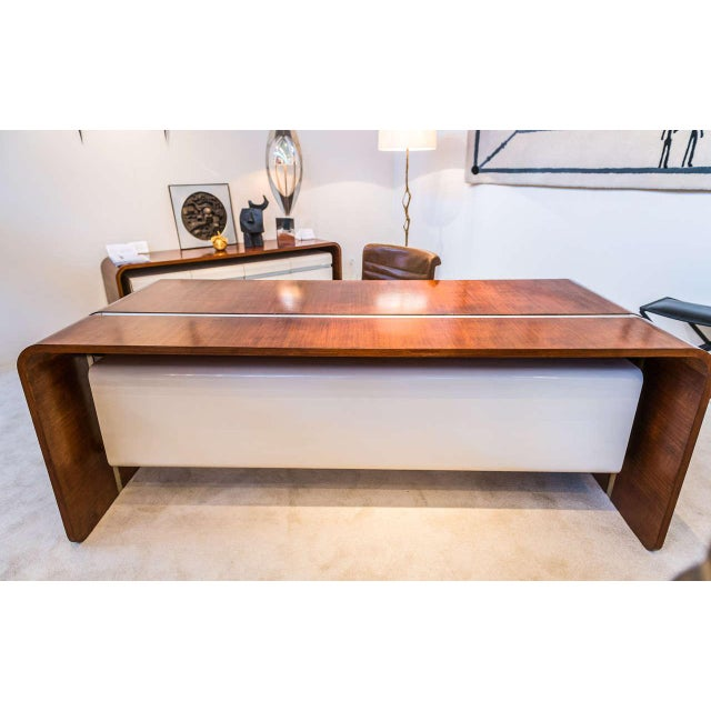 1970s Michel Boyer Walnut and Formica Waterfall Desk For Sale - Image 5 of 11