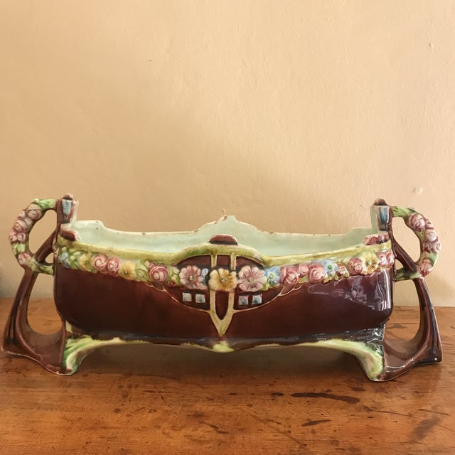 Ceramic Floral Majolica Low Centerpiece Bowl For Sale - Image 7 of 13