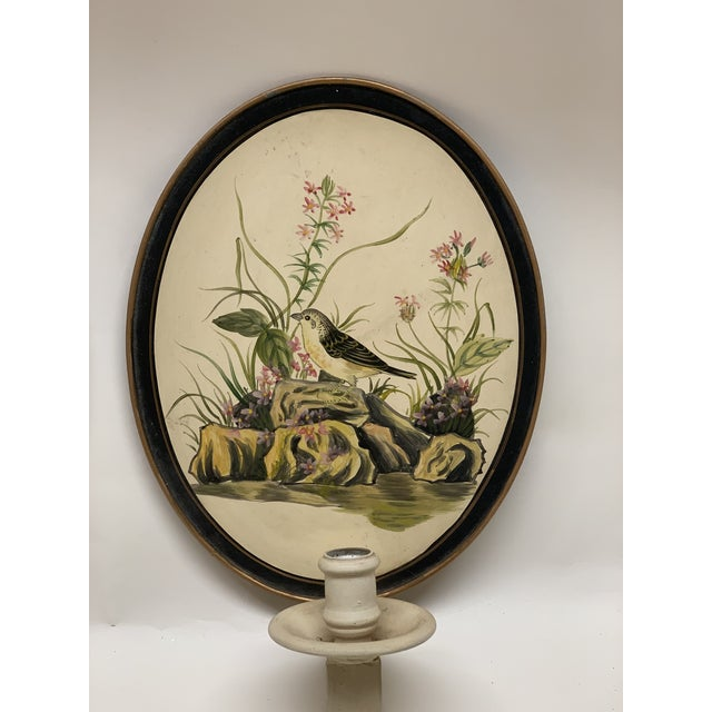 Art Deco Mid-Century Antique Birds Hand Painted Tole Wall Sconces - a Pair For Sale - Image 3 of 6