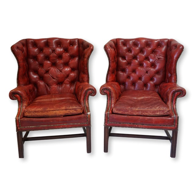 1febf6a32f094 Antique Tufted Red Leather Wing Back Chairs-A Pair For Sale - Image 12 of