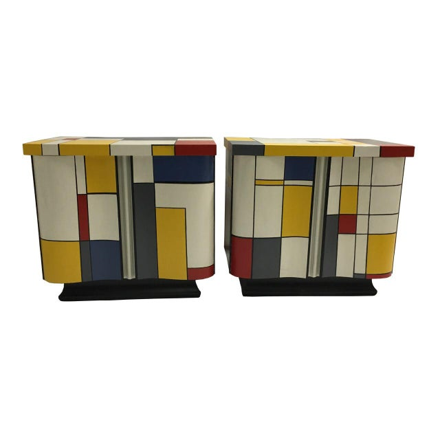 Mid-Century Modern Pop Art Mondrian Inspired Nightstands - a Pair For Sale - Image 3 of 5