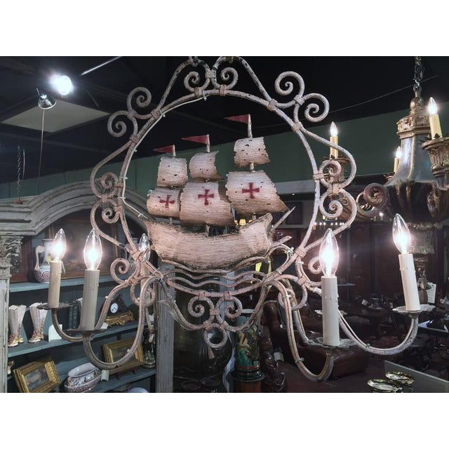 Mid-20th Century French Painted Iron Six-Light Sailboat Chandelier - Image 9 of 9