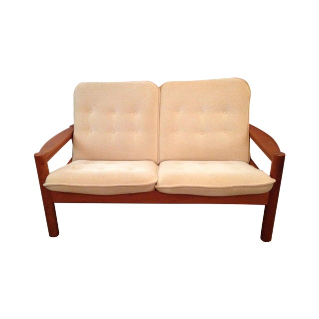 Domino Mobler Vintage Danish Modern Teak Loveseat For Sale