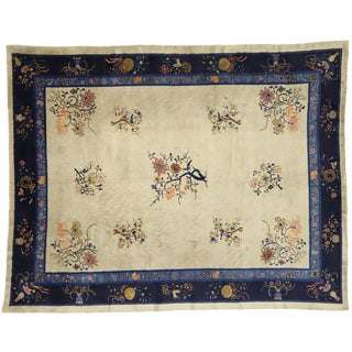 Antique Chinese Peking Rug With Chinoiserie Chic Style - 9′ × 11′4″ For Sale
