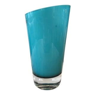 Aqua Art Glass Vase