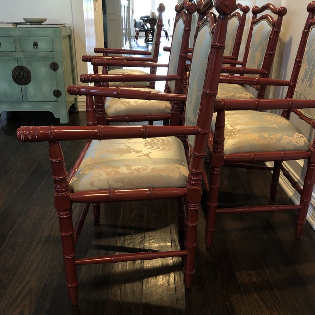1990s Vintage Faux Bamboo Dining Chairs - Set of 6 For Sale - Image 4 of 12