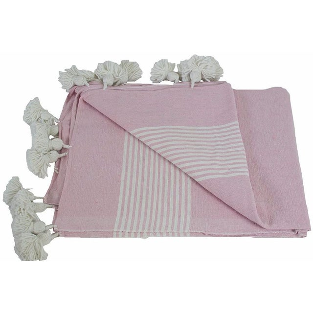 Islamic Moroccan Pom Pom Blanket, White Stripes on Pink With White Pom Poms For Sale - Image 3 of 3