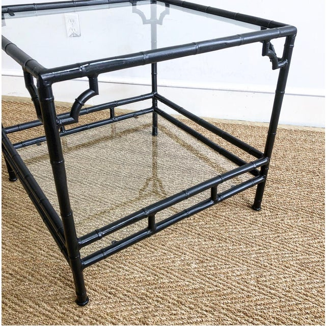Asian Faux Bamboo Metal Outdoor Chinoiserie Style Square End Table For Sale - Image 3 of 8