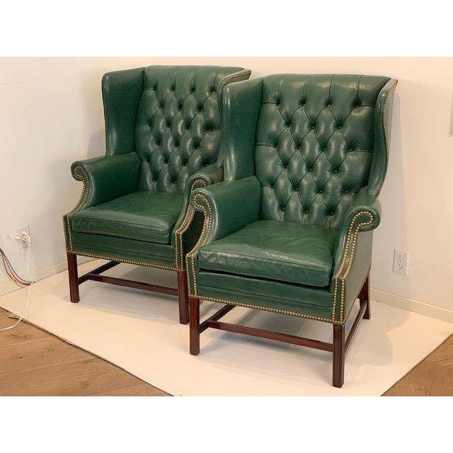 Vintage Mid Century Hancock & Moore Emerald Green Leather Wing Chairs- A Pair For Sale - Image 10 of 10
