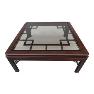 Drexel Chinoiserie Style Coffee Table With Smoked Glass Top