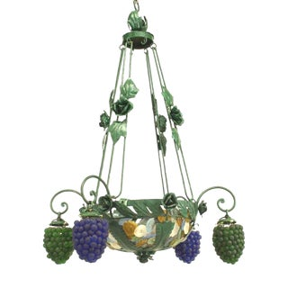 Italian Murano Glass and Painted Metal Grape Cluster Chandelier For Sale
