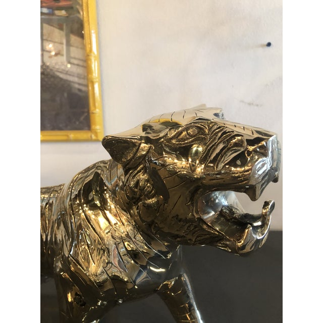 Metal Vintage Hollywood Regency Polished Brass Tiger Statue Pair Available For Sale - Image 7 of 11