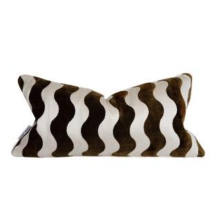 Contemporary Brown Velvet, Creme Satin Wave Pillow - 12 X 22 For Sale