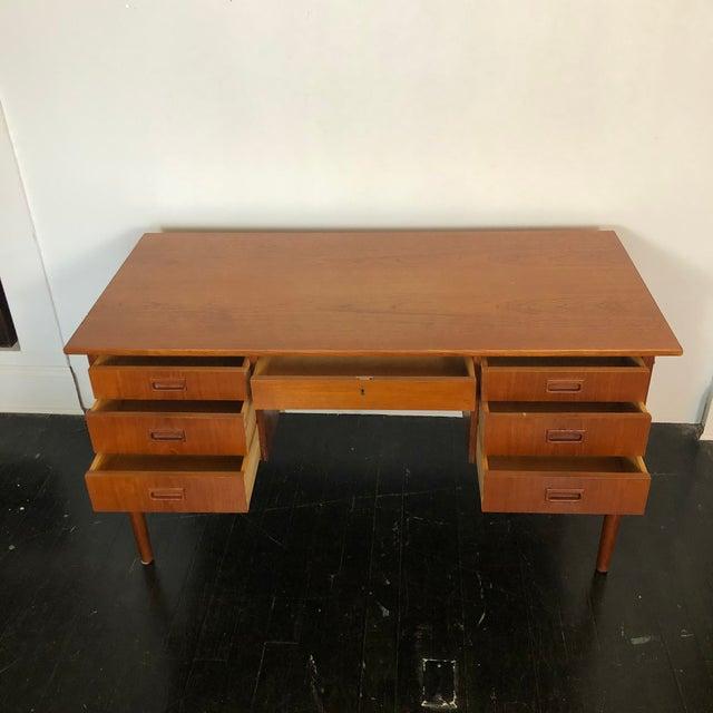 Mid-Century Modern 1970s Danish Teak Writing Desk For Sale - Image 3 of 13