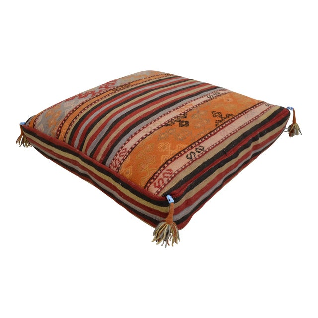 Turkish Hand Woven Floor Cushion Cover - 29″ X 29″ - Image 1 of 10