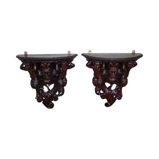 Antique 19th C. Italian Renaissance Wall Brackets - Pair For Sale