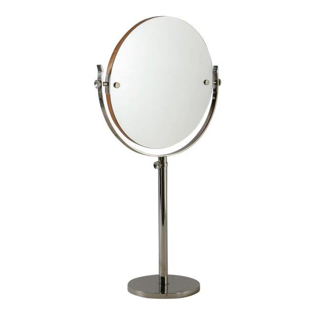 Large Height-Adjustable Nickel Vanity or Shaving mirror, Sweden, 1950s For Sale