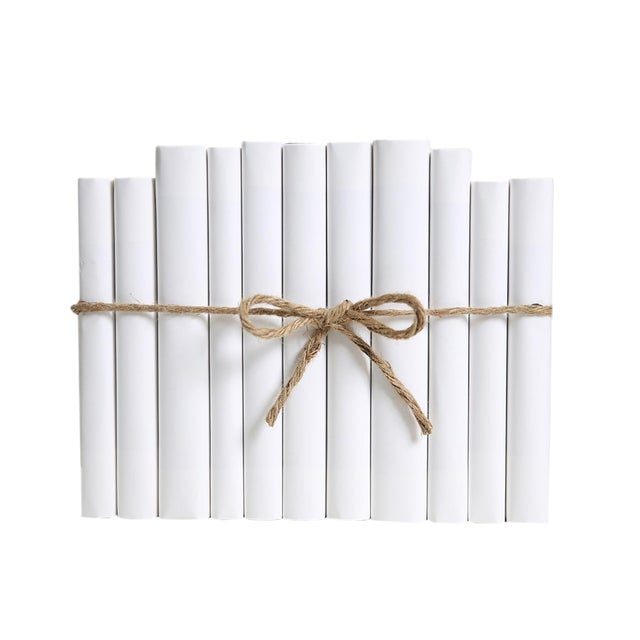 Modern Wrapped Snowfall Colorpak : Decorative Books Wrapped in White Parchment For Sale
