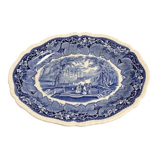 1950s Masons Vista Blue Scalloped Rope Edge Serving Platter For Sale
