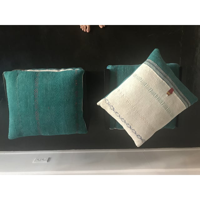 Modern Custom Katha Quilt Pillows Stool Set- A Pair For Sale - Image 9 of 13