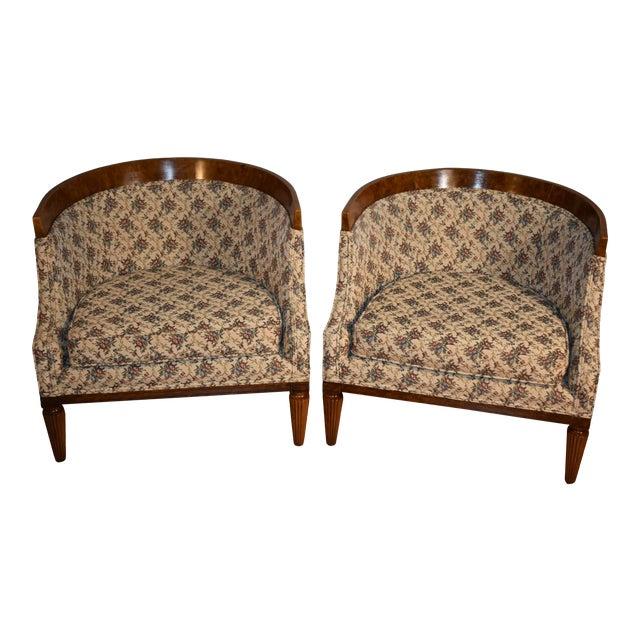 1950s Biedermeier Style Burl Fruit Wood Fireplace Chairs - a Pair For Sale