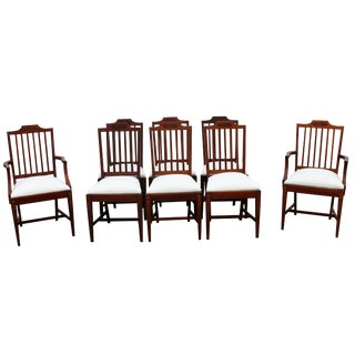 Mahogany Bellflower Inlay Chairs - Set of 8