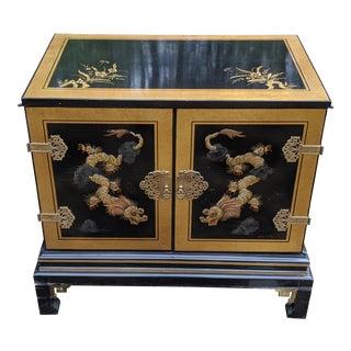 "1980s Drexel ""Et Cetera"" Asian Chinoiserie Black Lacquer 2-Door Console Cabinet For Sale"