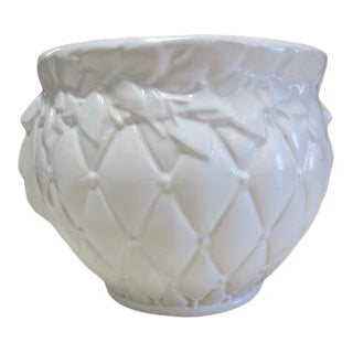 Vintage Mid Century Modern McCoy White Pottery Planter For Sale