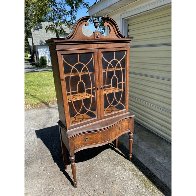 Vintage Mahogany Chippendale Curio Display Cabinet For Sale - Image 13 of 13