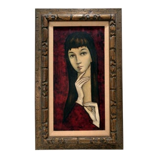Mid Century Modern Woman Portrait Painting Charles Levier Style For Sale