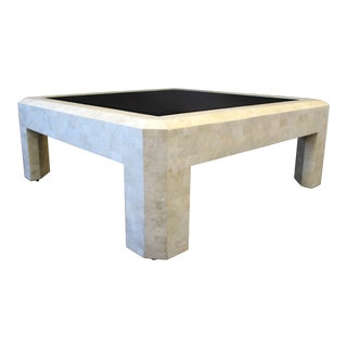 1980s Mid-Century Modern Maitland-Smith Tessellated Stone and Brass Coffee Table