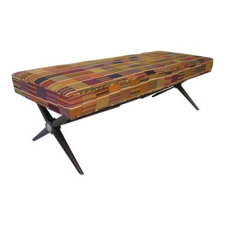 X Base Bench With Hand Loomed Fabric For Sale
