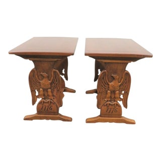 Bicentennial Eagle Carved Cherry Side Tables - a Pair