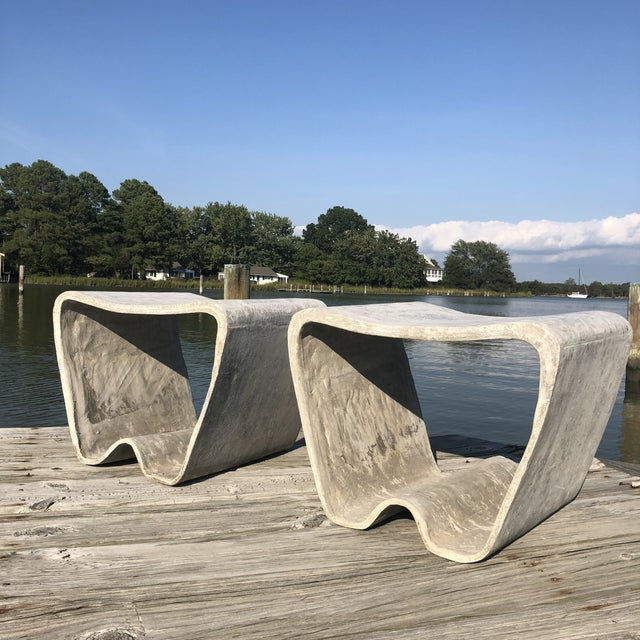 Eternit AG 1960s Mid Century Guhl Wasler Cement Garden Stools - a Pair For Sale - Image 4 of 10