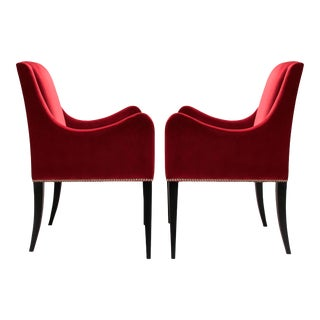 Italian Red Velvet Side Chairs - A Pair For Sale
