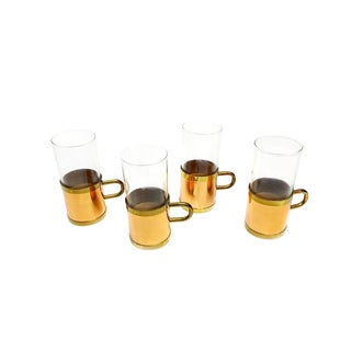 1970s House of Copper Glasses with Solid Copper and Brass Sleeves Handles - Set of 4 For Sale