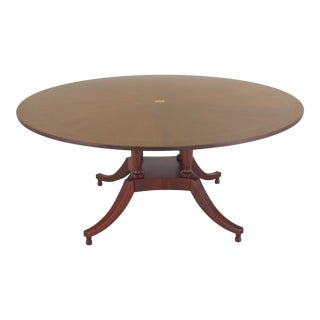 1990s Traditional Baker Colonial Williamsburg Round Mahogany Dining Room Table For Sale