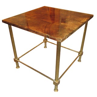 Marked Aldo Tura Lacquered Goatskin & Brass Table For Sale