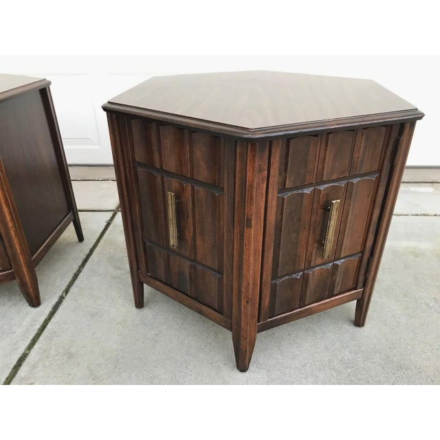Mersman Mid Century Hexagon Brutalist-Style Side Tables or Nightstands - a Pair - Image 5 of 8