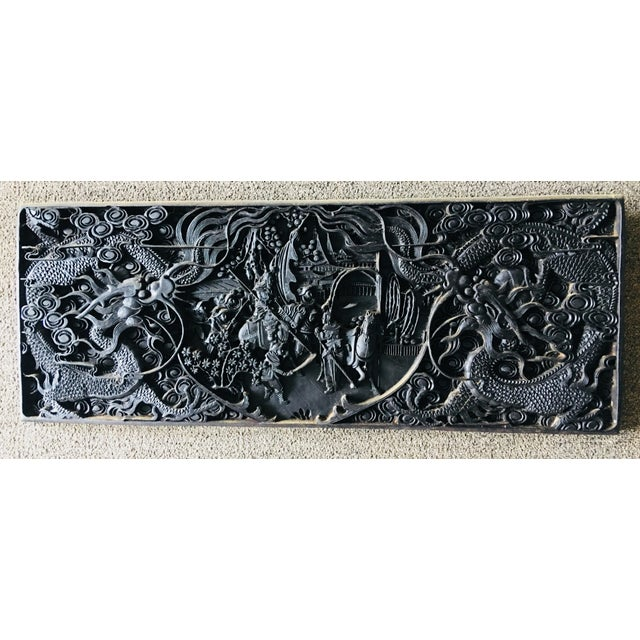 Wood Large Antique Hand Carved Black Lacquer Plaque For Sale - Image 7 of 7