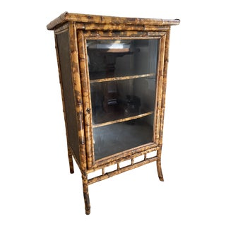 Antique English Victorian Tiger Bamboo Cabinet For Sale