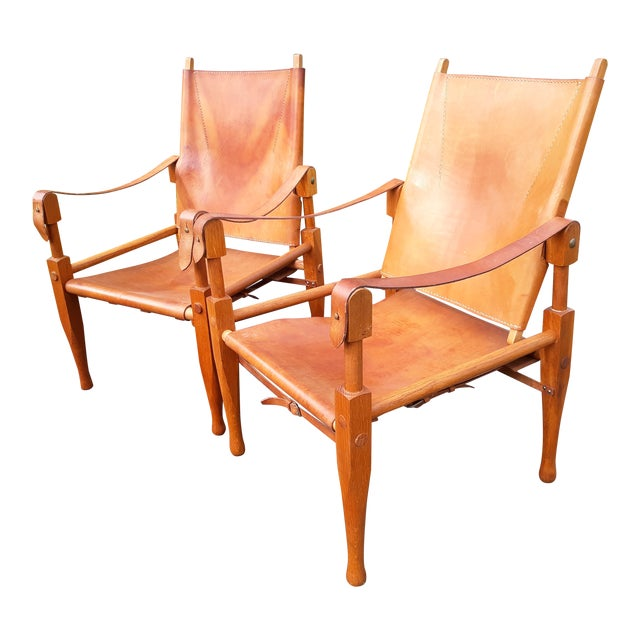 Vintage Mid Century Wilhelm Kienzle for Wohnbedarf Style Safari Chairs- a Pair For Sale