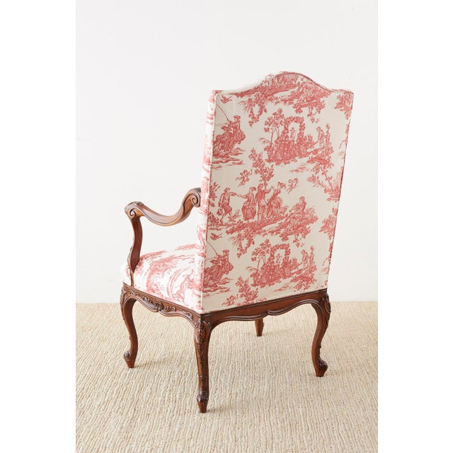 Pair of French Provincial Style Walnut Toile Fauteuil Armchairs For Sale - Image 11 of 13
